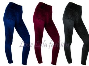 Womens High Waist Velvet Leggings